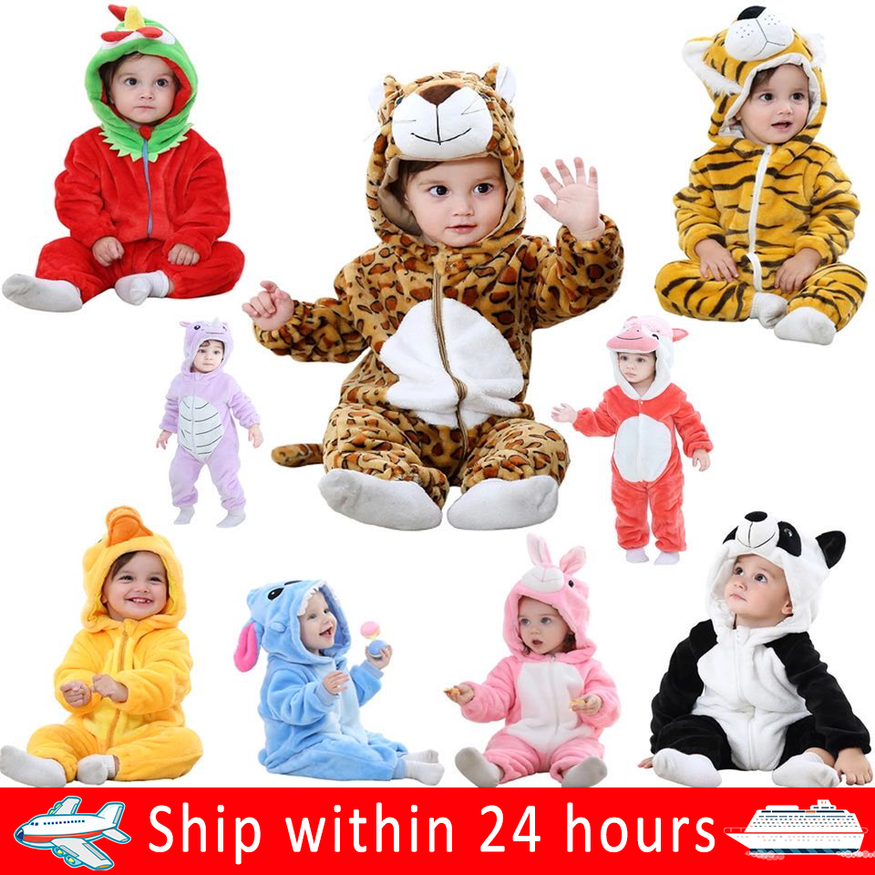 Baby Clothes Rompers Roupa De Bebe Animal Baby Boy Menina Jumpsuit Soft Flannel Cartoon Invier Winter Rompers Children's Pajamas