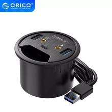 ORICO USB 3.0 HUB With Headphone Microphone Port Desktop Grommet Type C HUB OTG Adapter Splitter For Windows/ Mac OS/Linux