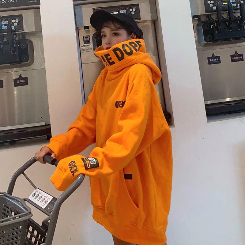 Harajuku Women Hoodies Hooded Thicker Plus Velvet Pockets Pullovers Women Long Sleeve Tops Autumn Winter Oversize Trendy Hoodie