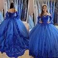 Платье принцессы в арабском королевском синем стиле, платье для выпускного вечера с кружевной аппликацией и бисером, милое праздвечерние ч...