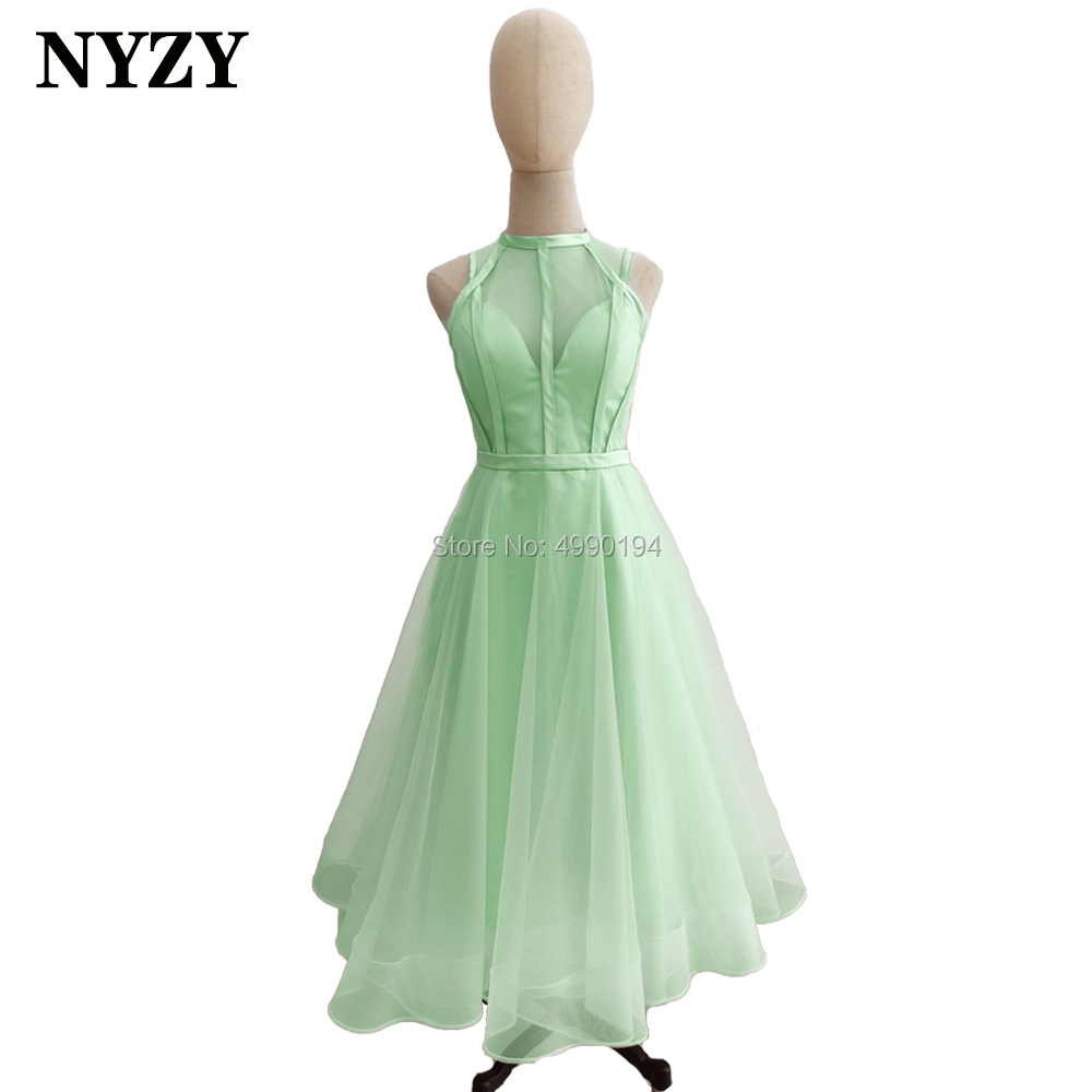 Mint Green Bridesmaid Dresses NYZY B1 Tea Length Tulle Short Dress For Wedding Party Prom Cocktail Evening Homecoming
