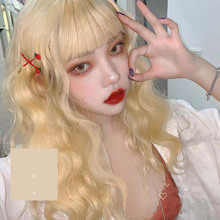 MANWEI Lolita 56CM Long straight hair Curly Blonde Doll Japan Bangs Fringe Hair Cute Party Synthetic Cosplay Wig