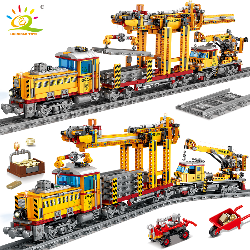 HUIQIBAO 1270pcs Electric City Freight Train Building Blocks Battery Power Railway track set Bricks Children Toys gift