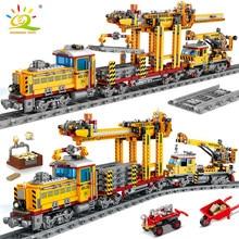 Huiqibao 1270 pçs elétrico cidade carga trem blocos de construção energia da bateria trilha ferroviária conjunto tijolos crianças brinquedos presente