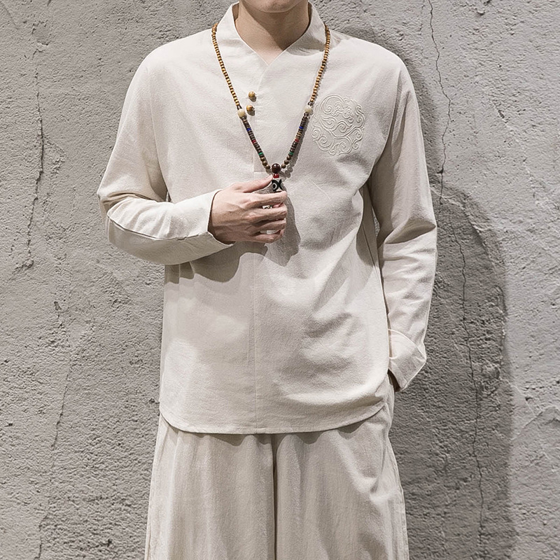 Summer New Style Embroidered Solid Color Flax Set Chinese-style Men'S Wear Cotton Linen Long-sleeved T-shirt Large Size Loose-Fi