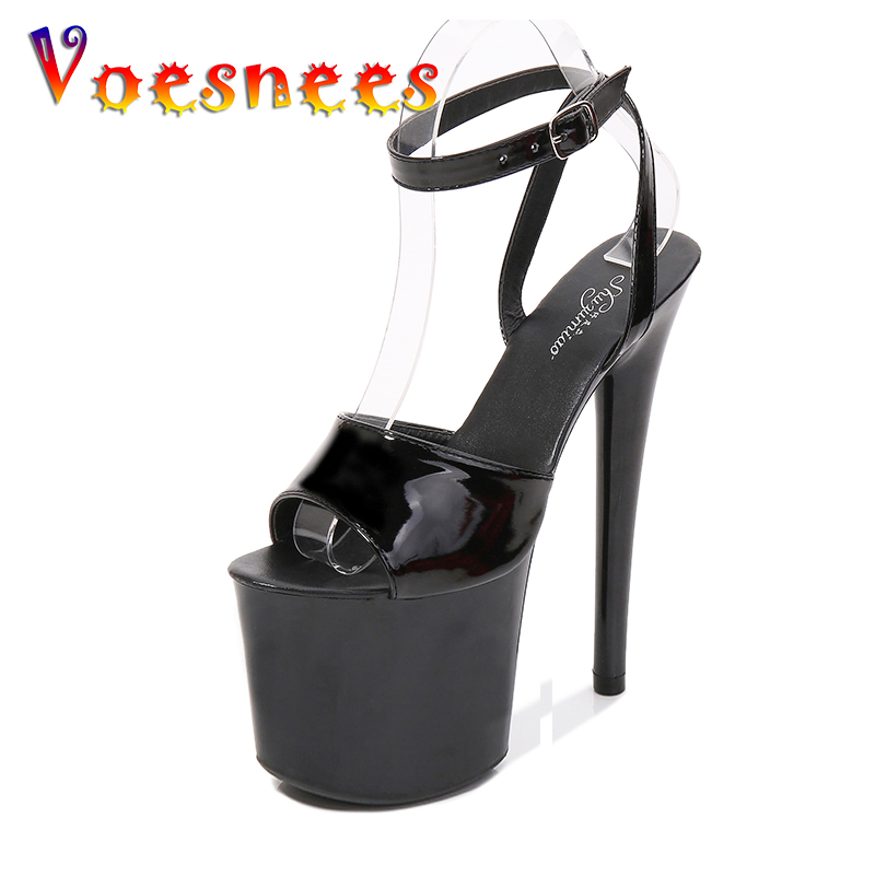 Voesnees 2021 Sexy Female Sandals Stripper High Heels Women Shoes 17 20 CM Platform Cross-tied Ankle Strap Gladiator Black Shoes