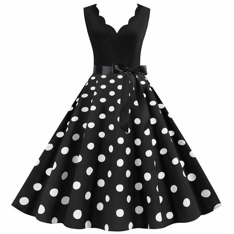 White Polka Dot Vintage Dress Summer Women Pinup Retro Rockabilly Dresses Knee-Length Party Vestidos Plus size XXXL Robe Femme
