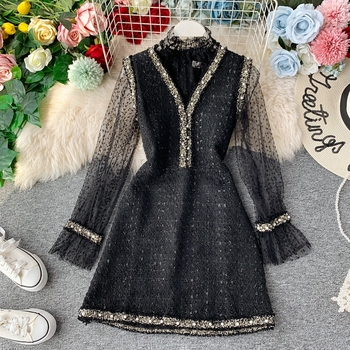 2021 New Women Fashion Spring Autumn Long Sleeve Mini Dress Female Lace Bottoming Shirt Beaded V-neck Femme Vestidos women bandage elegant shirt dress new v neck long sleeve office lady fashion tide spring autumn dresses