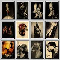 2Pac poster, Tupac poster,2Pac Tupac Shakur Vintage Kraft Paper Poster Wall Painting Home Decoration Art Wall Stickers