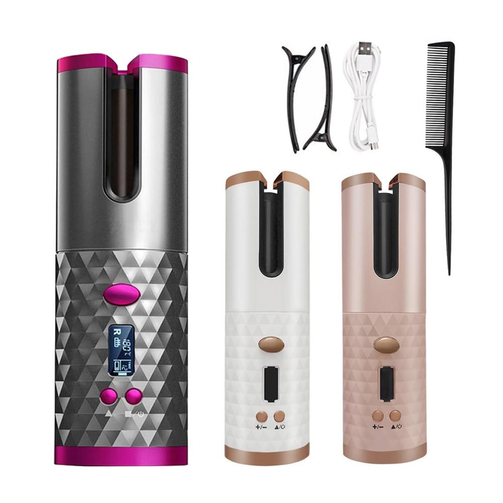 Портативная Беспроводная Автоматическая Плойка для завивки волос USB перезаряжаемая для ЖК-дисплея кудрявая машина с 1 расческой + 2 зажимами