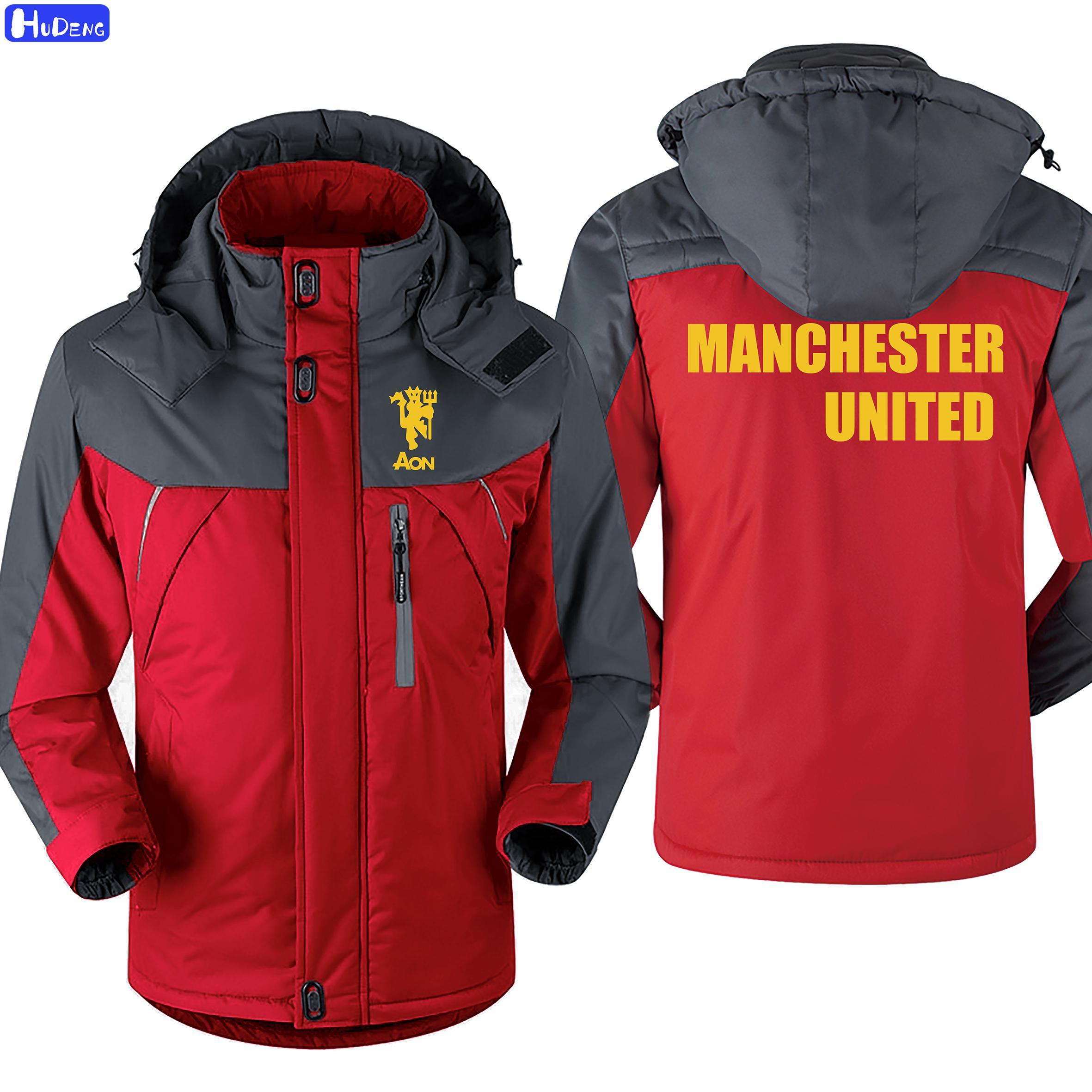 HD New Men's Coat Manchester United Football Sports Uniform MEN Sports Jacket Men Winter Man Windproof M8 Casual Cotton5-6-7XL