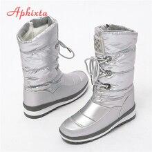 APHIXTA 2019 botas de nieve de invierno para mujer zapatos cálidos de felpa de cristal para mujer botas de media pantorrilla botas de mujer botas impermeables 35-41