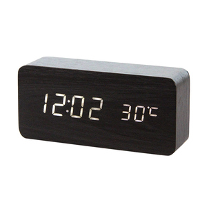 wooden alarm clock digital desk clock table clock(China)