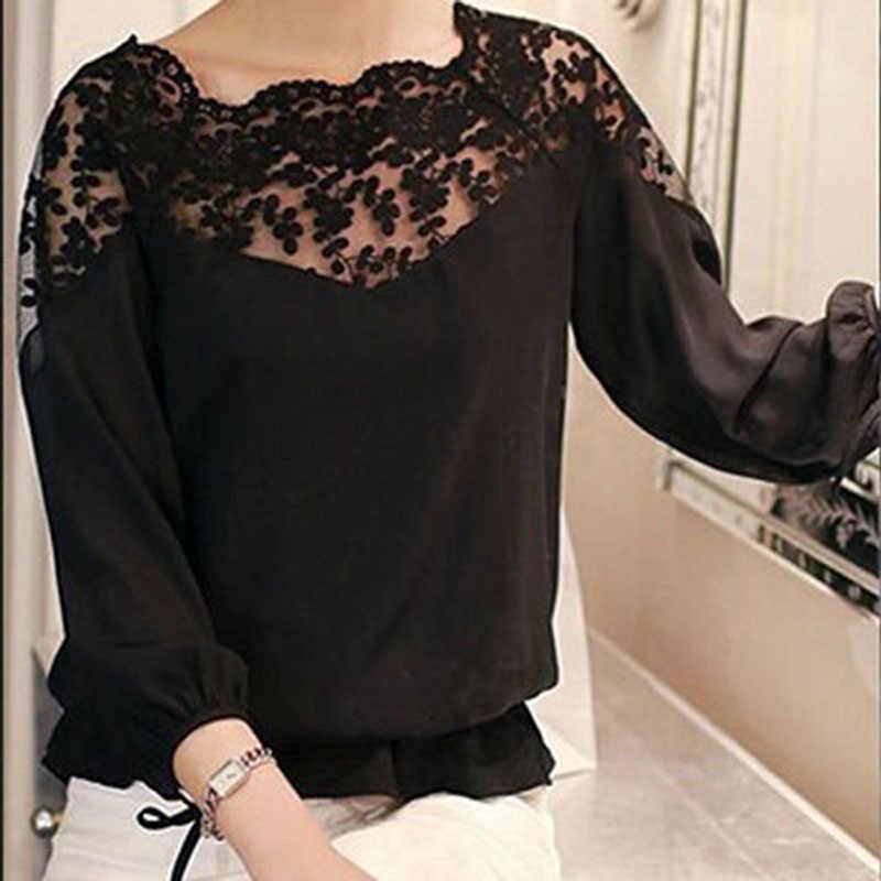 Blusa de chifón con cuello hueco de encaje de moda para mujeres sin espalda de manga de tres cuartos para chicas blancas y negras