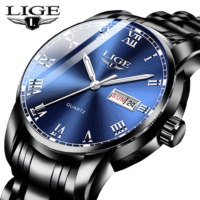 2020 New Watches Mens LIGE Top Brand Fashion Date Week Male Stainless Steel Waterproof Business Men WristWatch Relogio Masculino