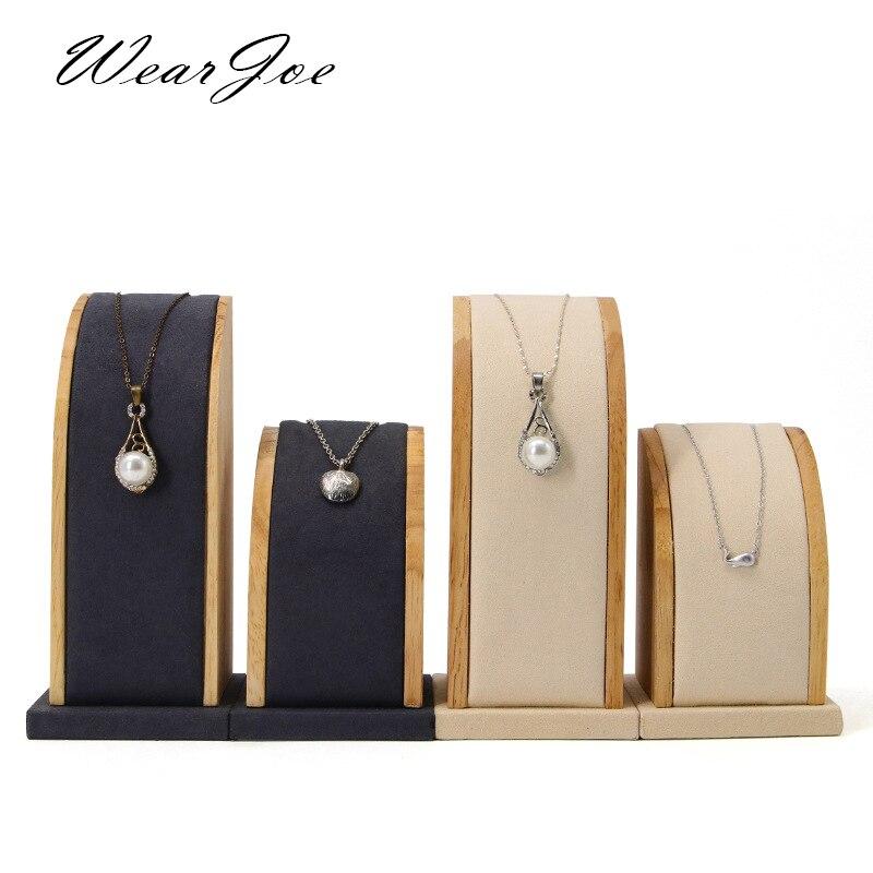 En bois Portrait Mannequin buste pendentif pendentif collier chaîne porte-bijoux affichage organisateur support support cintre vitrine ensemble
