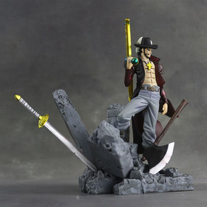 Image 2 - 15cm Scultures Big One Piece Figure Toy Luffy Dracule Mihawk Model Doll With Sword Anime Brinquedos for Children