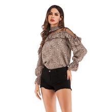 Women Leopard Chiffon Pullover Top Shirt Fashion Mesh Gauze Stitching Shirt Horn Ruffle Long Sleeves Top Ladies Elegant Pullover embroidered mesh ruffle bardot top