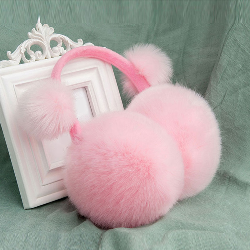Adult Children Winter Earmuffs Faux Rabbit Fur Pompom Soft Plush Warm Ear Cover