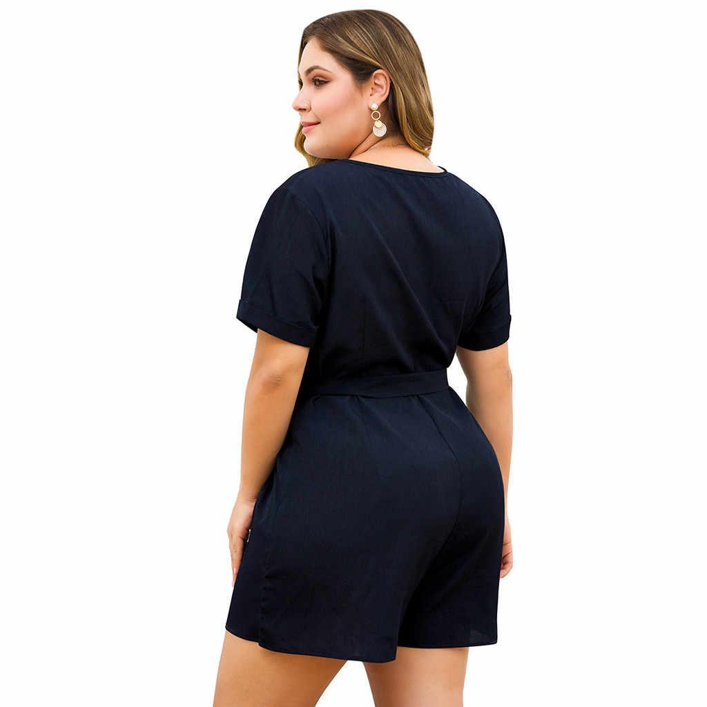 Jumpsuit Ladies' Sexy Women's Plus Size V-neck Short-Sleeved Belt Button Wide-Leg Shorts Party Top Autumn Winner NEW 19NOV11