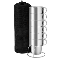 Stainless Steel Cup Water Tea Coffee Cup with Stackable Rack Outdoor Camping Hiking Picnic Bar Family Use 6 Cups with Storage Ba