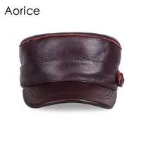 Aorice Genuine Leather Cotton Cap Men Baseball Cap Hat CBD High Quality Men Real Leather Adult Hats Solid Adjustable Caps HL108