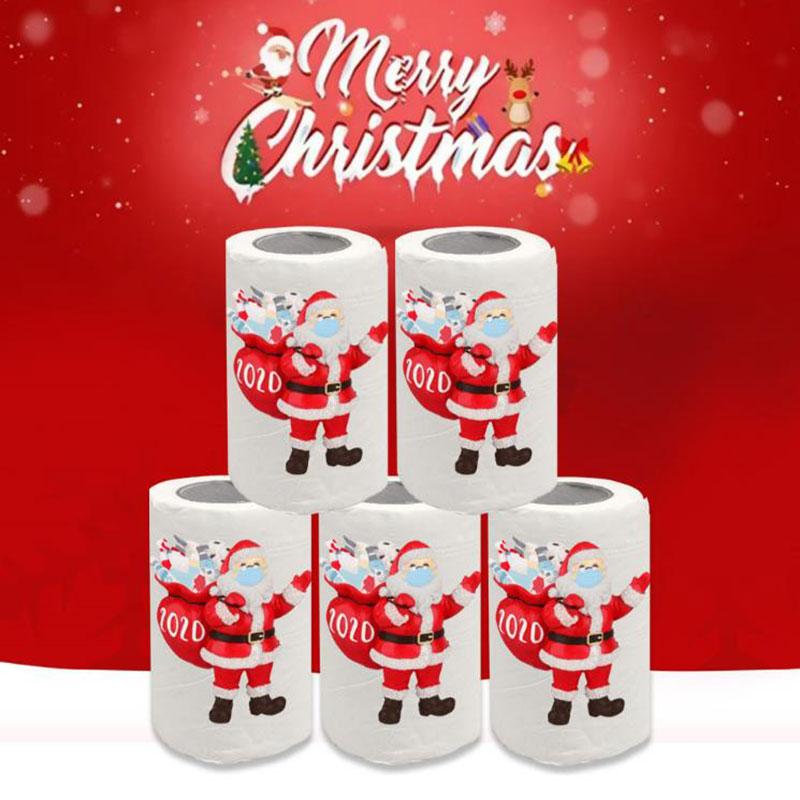 100Pcs/roll Christmas Napkin Santa Claus Tree Snowflake Paper Napkin Table Decor Christmas Decorations For Home Decor