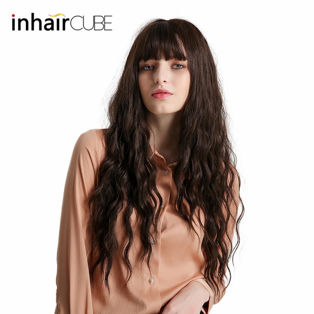 Inhaircube Long Dark Brown Curly Lolita Wig Synthetic Half Natural Hair Wigs With Bangs For Women Cosplay INS Hair Free Shipping