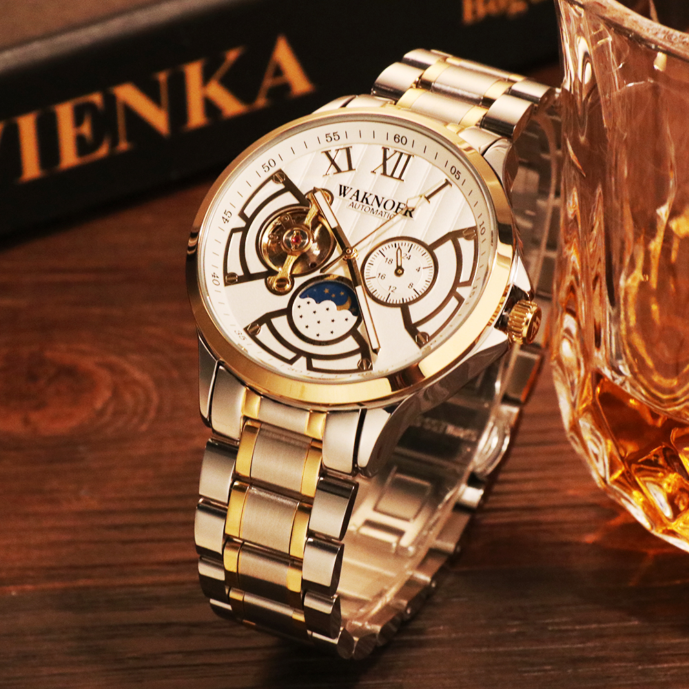 WAKNOER Automatic Mechanical Watch Men Stainless Waterproof Moon Phase Luminous Luxury Gold Business Tourbillon Montre Homme WAKNOER Automatic Mechanical Watch Men Stainless Waterproof Moon Phase Luminous Luxury Gold  Business Tourbillon Montre Homme