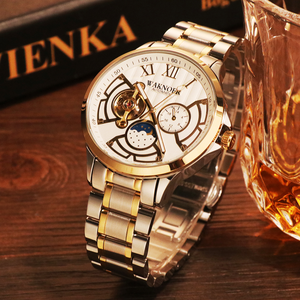 Image 2 - WAKNOER Automatic Mechanical Watch Men Stainless Waterproof Moon Phase Luminous Luxury Gold  Business Tourbillon Montre Homme