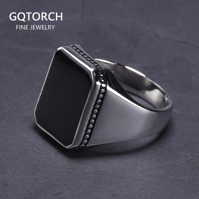 Real Solid 925 Sterling Silver Ring Simple For Men With Black Square Flat Gel Stone High Polishing Middle East Turkish Jewelry