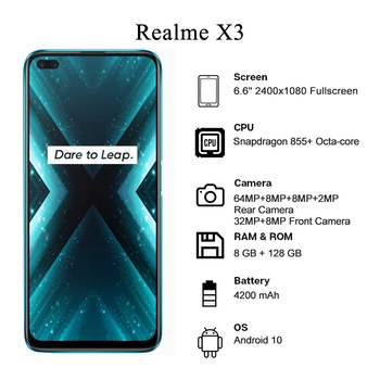 Купить Realme X3 суперзум глобальная версия Snapdragon 855 + 8 Гб 128 Гб Quad Camera 64MP 60X 120 Гц дисплей 4200 мАч 30 Вт NFC Смартфон