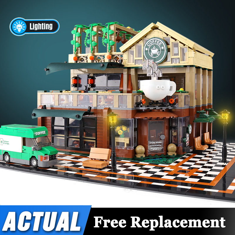 Lepinblocks MOC Streetscape Series The Coffee Shop With LED Light Building Blocks House As Kids Christmas Gifts