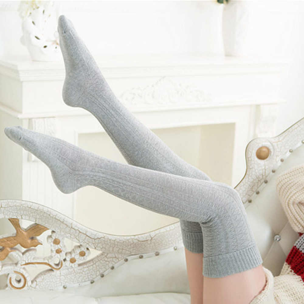 Knee Socks Women Cotton Thigh High Over The Knee Stockings For Ladies Girls 2019 Warm Long Stocking Sexy Medias