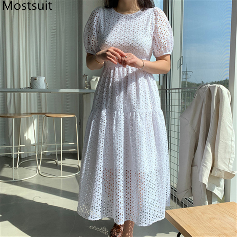 2020 Summer Korean Elegant Women Long Dress Short Sleeve O-neck Hollow Out Party Office Fashion Ladies Vestidos Dresses Femme
