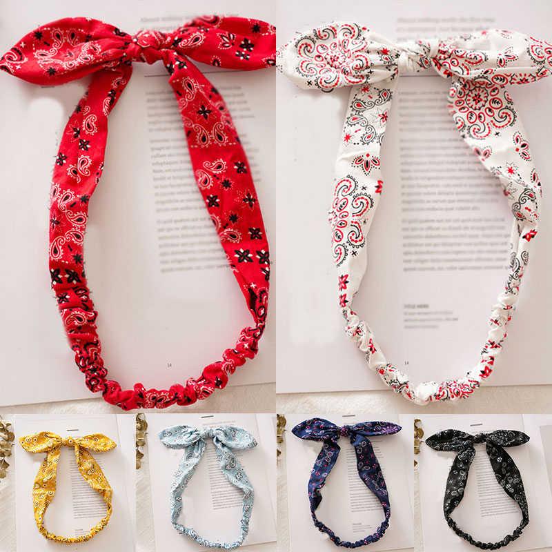 Koreaanse Geknoopt Haarband Mode Bloemenprint Konijnenoren Haar Lint Vintage Hoofdband Meisjes Elastische Paardenstaart Haar Accessoires
