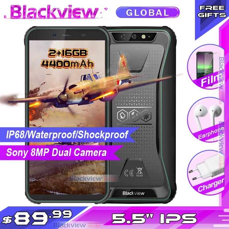 Blackview BV5500 IP68 防水堅牢なスマートフォン 2 ギガバイト   16 ギガバイト 5.5 18:9  画面 4400 3000mah のアンドロイド 8.1 3 3g 携帯電話の Gps    グループ上の  携帯電話