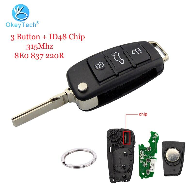 OkeyTech Remote Key for Audi A3 A4 A6 Q7 TT 3 Button Flip Folding HU66 Blade