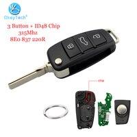 Mando a distancia OkeyTech para Audi A3 A4 A6 Q7 TT 3 botones plegable HU66 Blade 315Mhz cristal ID48 Chip enviar llavero 8E0 837 220 R