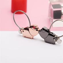 2pcs Couples Keychains Cartoon Pig Key Holder Exquisite Key Ring Key Decoration Valentine's Day