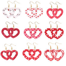 Boucles d'oreilles pendantes ajourées en cuir Pu pour femmes, pendentif cœur d'amour, cadeau de saint valentin, vente en gros, nouvelle collection
