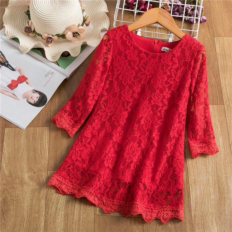 Red Summer Girls Dress For Kids Spring Half Sleeve  Princess Costume Lace Children Flower Embroidery Party Vestido Clothing 1