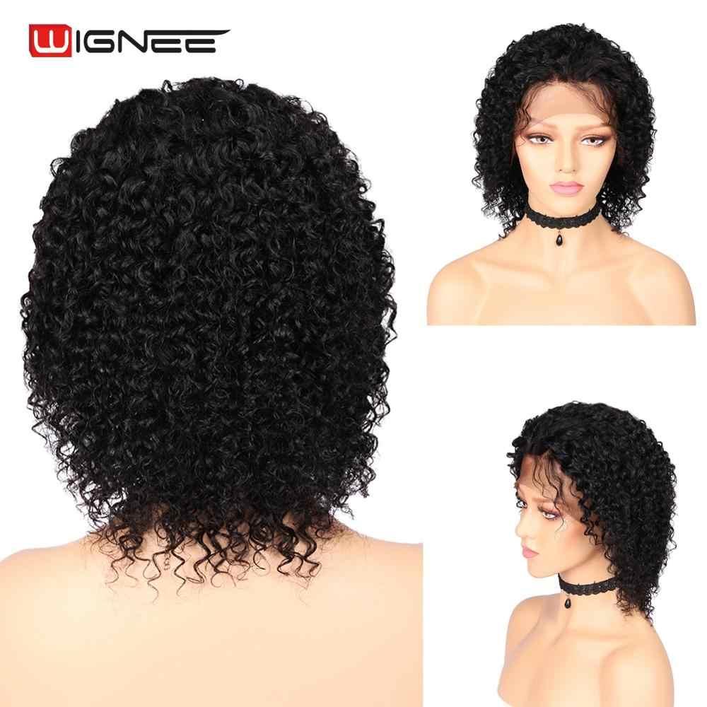 Pelucas de pelo humano rizado frontal de encaje Wignee 13*4 con pelo de bebé para mujeres Pre desplumado Remy brasileño pelucas humanas de encaje para el cabello
