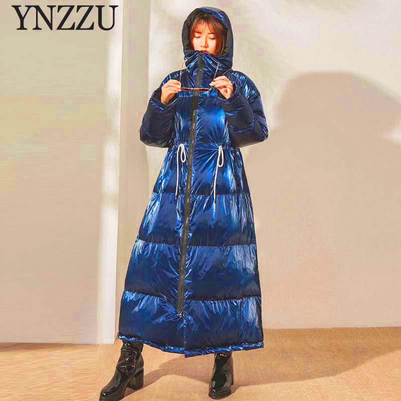 2019 Winter Women Long Down Jacket Large Size Loose Hooded Female Outwear Thick Warm 90% White Duck Down Coat Chic YNZZU 9O099