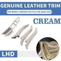 4 / 7PCS Genuine Leather Left Hand Drive LHD For BMW 5 series F10 F11 F18 Cream Car Interior Door Handle Inner Panel Pull Trim|Interior Door Handles| |  -