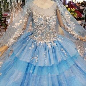 Image 4 - HTL842 robes de mariée musulmanes bleues avec voile de mariée col rond à manches longues robe de mariée verte robe de couleur dentelle robe de noiva azul