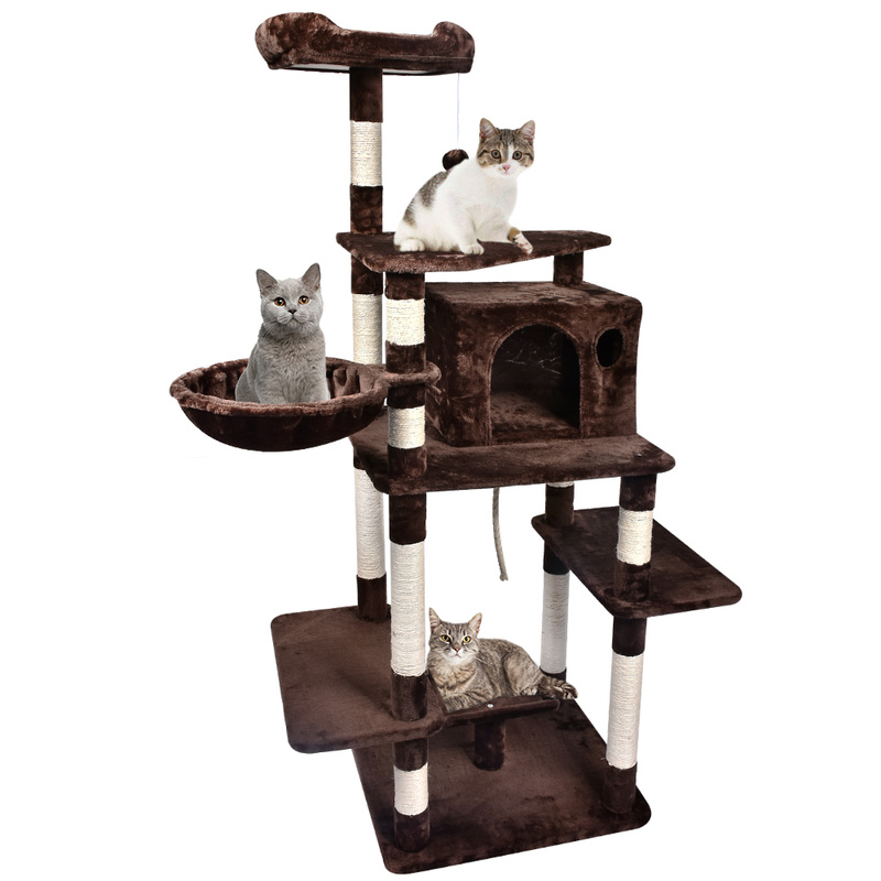 Large Condo Scratching Posts Cat Tree with Ladder Hammock