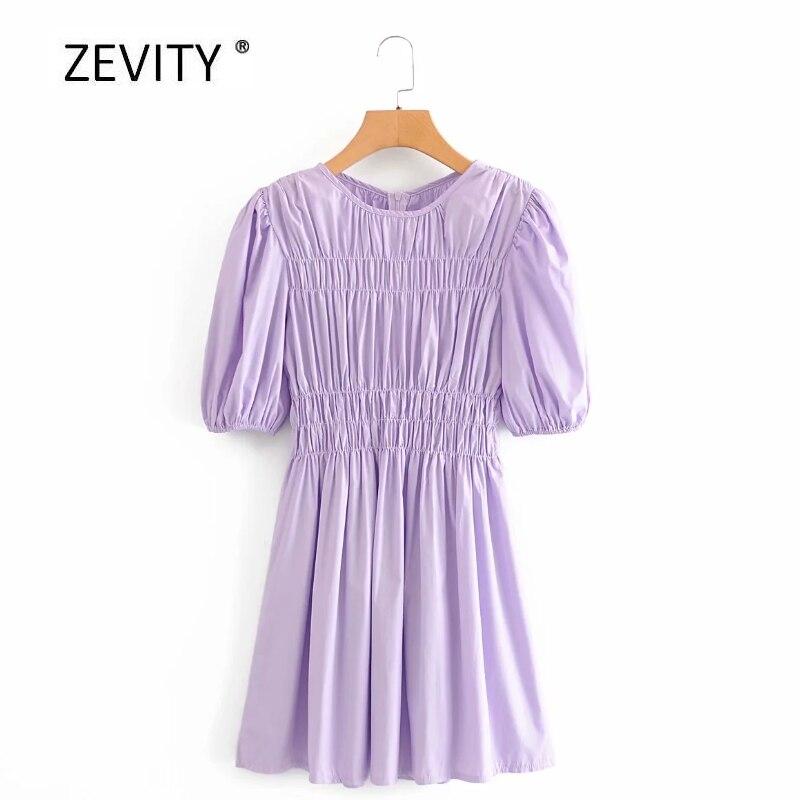 Zevity Women vintage O Neck puff sleeve purple color mini Dress Ladies press pleated elastic casual slim vestidos Dresses DS4025
