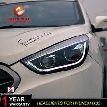 تصفيف السيارة رئيس مصباح علبة لشركة هيونداي IX35 المصابيح الأمامية 2010 2013 LED IX35 IX35 المصابيح الأمامية DRL عدسة مزدوجة شعاع ثنائية زينون HID