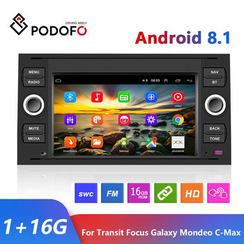 Podofo 7 2 din Car Radio Multimedia Player Android 8.1 2 Din GPS Autoradio For Transit Fiesta Focus Galaxy Mondeo Fusion C-Max image